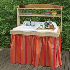 Salvaged sink into an outdoor kitchen. Great use for our old double drainboard sink! Must add to the TO DO list.
