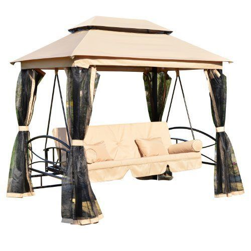 Outsunny Outdoor 3 Person Patio Daybed Canopy Gazebo Swing, Tan with Mesh Walls #Outsunny