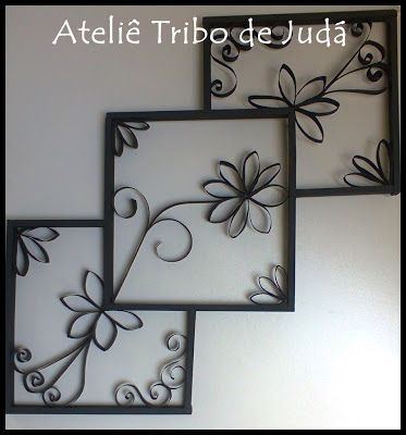 Ateliê Tribo de Judá: Reciclagem - Quadro feito com rolinhos de papel e madeira reciclada
