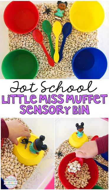 This Little Miss Muffet Sensory Bin is so fun to explore and use for retelling during our Nursery Rhyme theme. Perfect for tot school, preschool, or the kindergarten classroom.