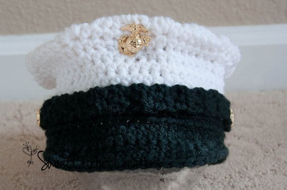 US Marine Corps Dress Blues Hat by SweetCrochetCreation on Etsy....cutest thing every!