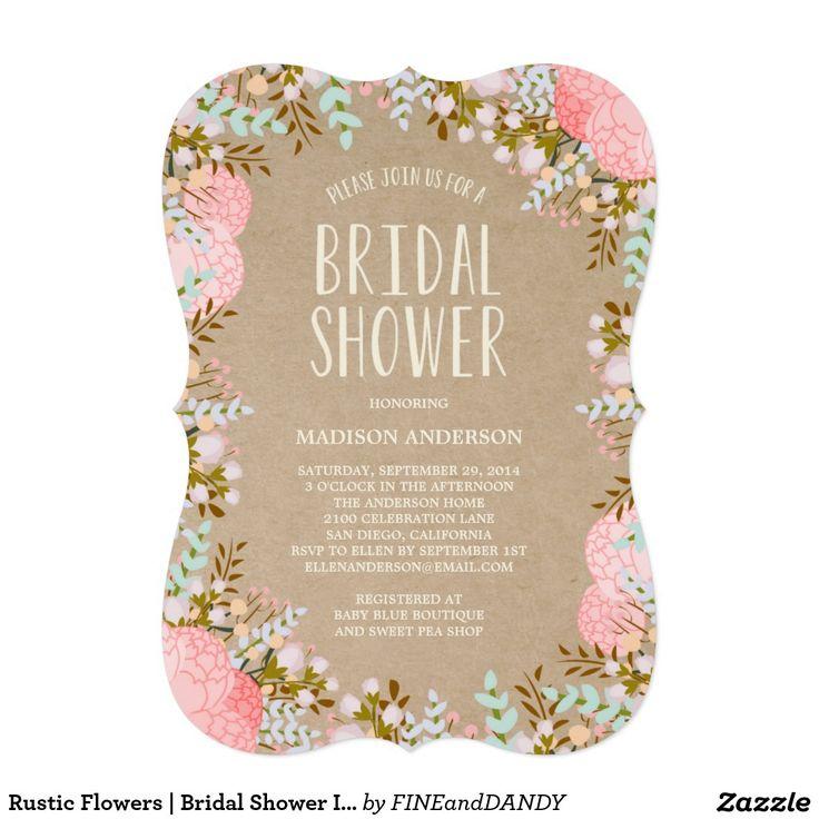 "Rustic Flowers | Bridal Shower Invitation 5"" X 7"" Invitation Card"