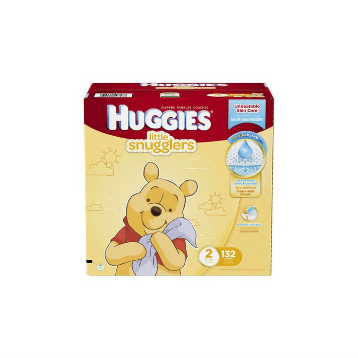 HUGGIES® Little Snugglers, featuring Winnie the Pooh and friends, have softness inside and out and are specially shaped to gently fit little legs — even if they haven't uncurled yet!