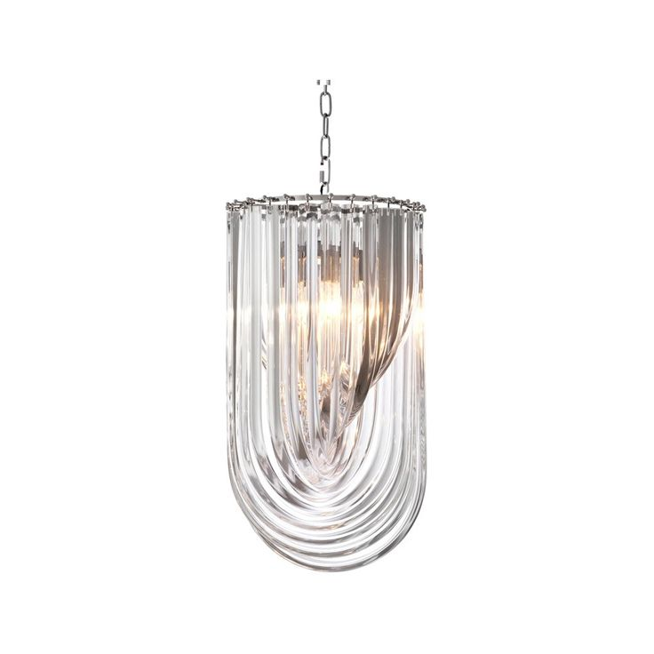 Eichholtz+Murano+Chandelier+-+Unusual+contemporary+chandelier+light+fitting+from+Eichholtz. This+stylish+luxury+chandelier+is+formed+of+a+series+of+long+sculptural+acrylic+drops+which+let+reflected+light+sparkle+from+the+internal+light+fittings. Each+chandelier+has+a+circular+polished+nickel+frame+and+chain+support+hanger. Requires+4+x+E27+max+40+Watt+bulbs+(not+included).