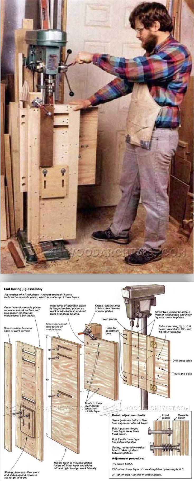 Vertical Drilling Jig - Drill Press Tips, Jigs and Fixtures   WoodArchivist.com