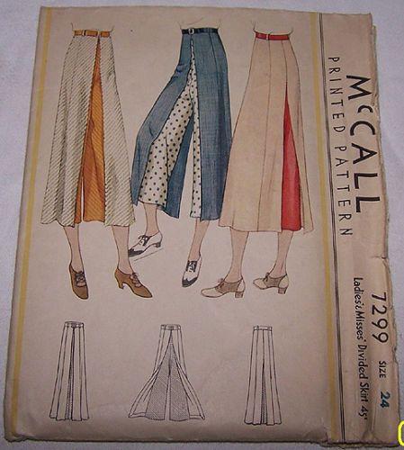 McCall 7299 | 1933 Ladies' & Misses' Divided Skirt