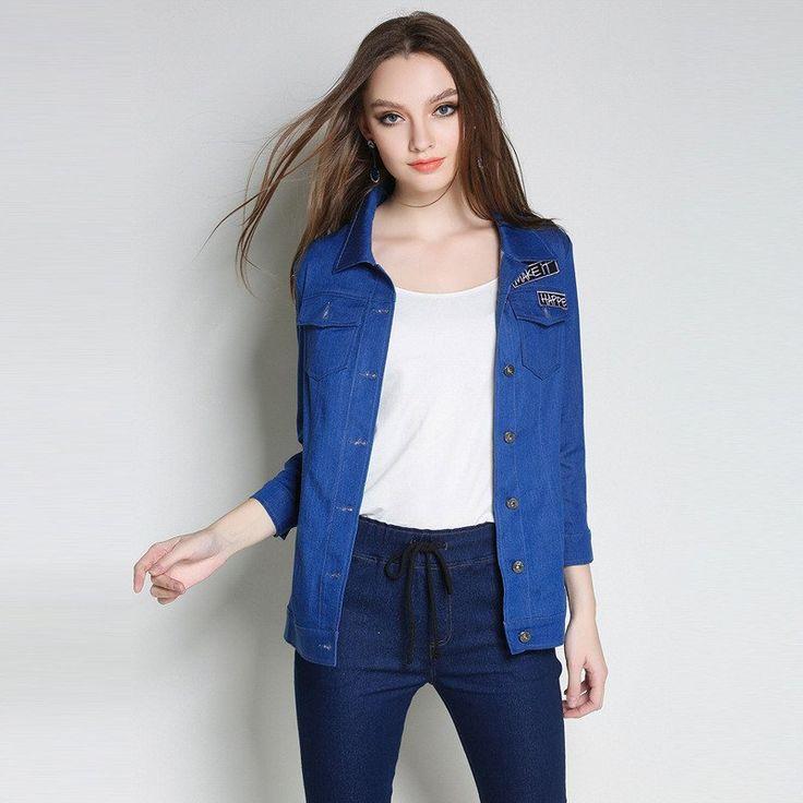 Women Plus Size Blue Denim Shirt Applique Slogan Fashion Jean Jacket L to 5xl