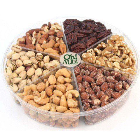 Oh! Nuts Freshly Roasted Holiday Nuts Gift Basket, Nut Gift Tray 6-section Medium Gift Tray - http://mygourmetgifts.com/oh-nuts-freshly-roasted-holiday-nuts-gift-basket-nut-gift-tray-6-section-medium-gift-tray/