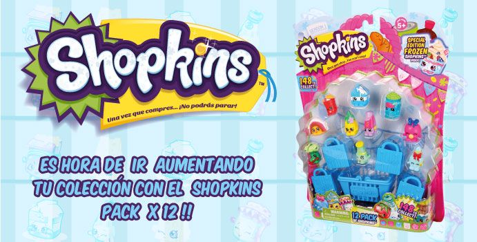 Has compras con el paquete X 12 de shopkins! Si tienes suerte, encontrarás algunos personajes raros!