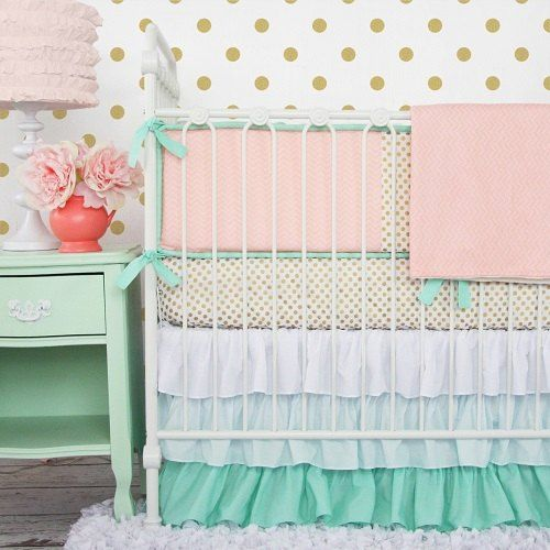 Trending nurseries!! Caden Lane Mint & Coral Chevron Baby Bedding with pops of gold
