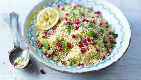 Lemon and pomegranate couscous. (Use veggie stock. Reduce oil.)
