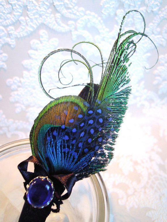 fascinator hairband blue /  black peacock by jasminthestrange, $36.00