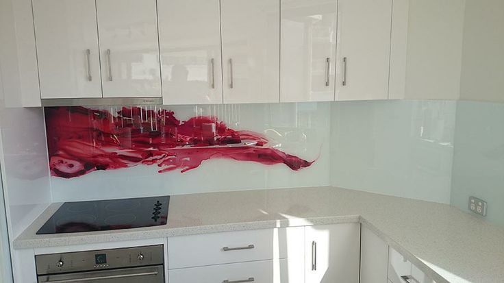 Red silk Glass Kichen Splashback. Visit our website for more designs. http://www.voodooglass.com.au. Located on the Gold Coast