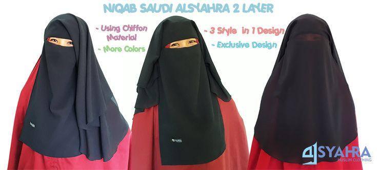 Niqab saudi 2 Layer original Alsyahra dewasa http://www.tokoalsyahra.com/niqab-saudi-2-layer-chiffon-premium.html?o=terbaru
