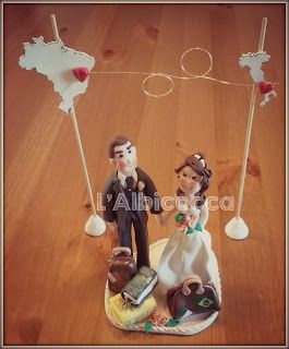 Customized Wedding Cake Topper in FIMO clay.