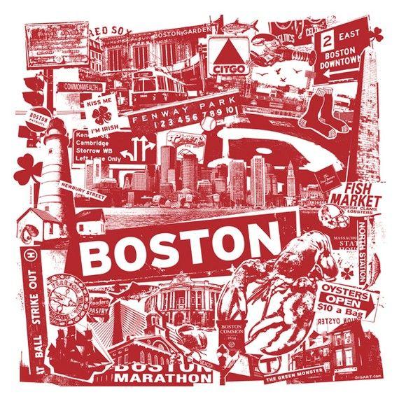 Boston Silk Screen City Art Print Poster - Etsy