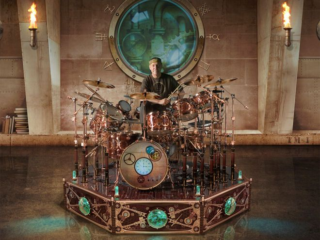 Neil Peart's DW drum kit gets steampunk makeover