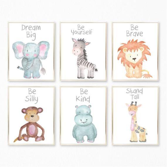 Baby Animal Nursery Wall Art Prints Printable Watercolor Animal
