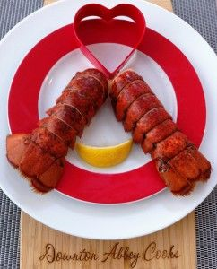 Lobster tails steamed in beer.  A quick, elegant & romantic dish.  Inspired by the tails which ended up on Granny's lap and Tom's beer loving brother in S3E7.