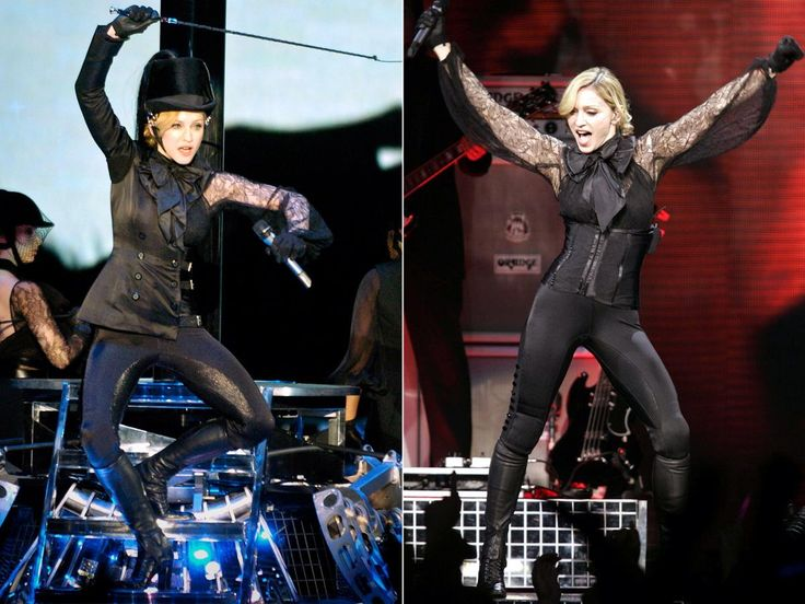 """What might look like a wardrobe malfunction is actually a transforming outfit! During Madonna's """"Confessions Tour,"""" she donned a more conservative outfit that featured sleeves that could be pulled off to reveal lace sleeves. She finished the outfit off with sleek black pants ad signature knee-high leather boots as usual."""