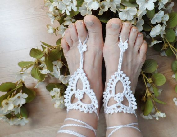 Foot Jewelry Anklet White crochet anklet nude shoes by vyldanstyl, $15.90