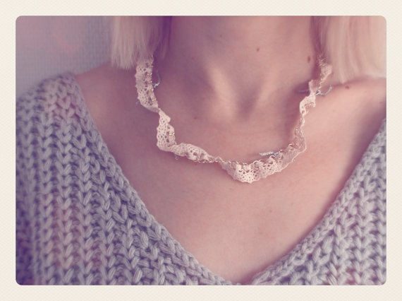 Pink Lace and Metal Necklace by SKRIN on Etsy, €15.00