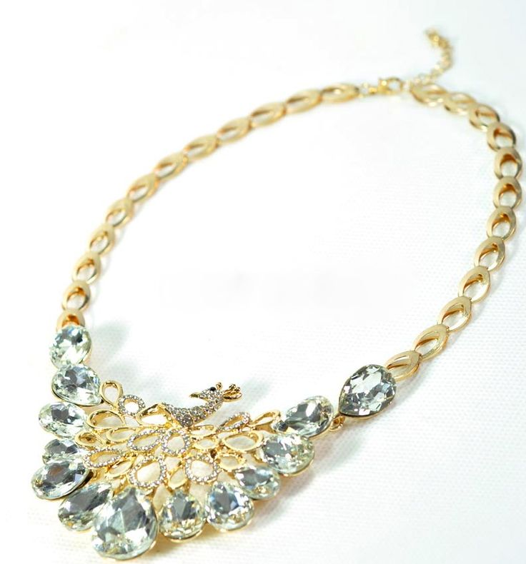 Crystal Accent Peacock Statement Necklace