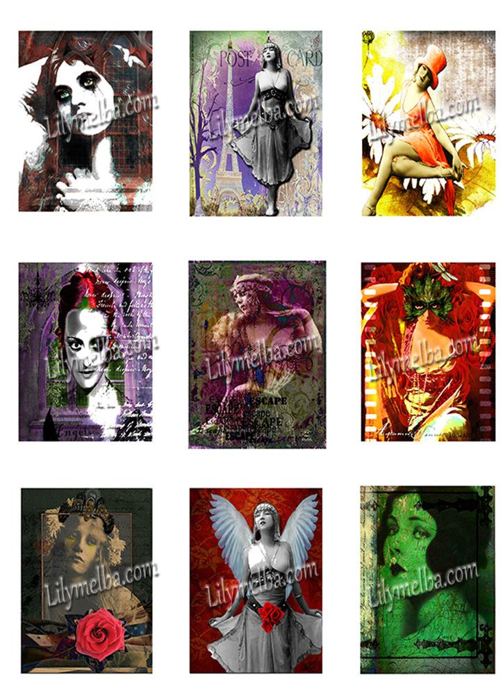 Artist Trading Card Goth..... A4 digital download collage sheet... by Lilysart1 on Etsy