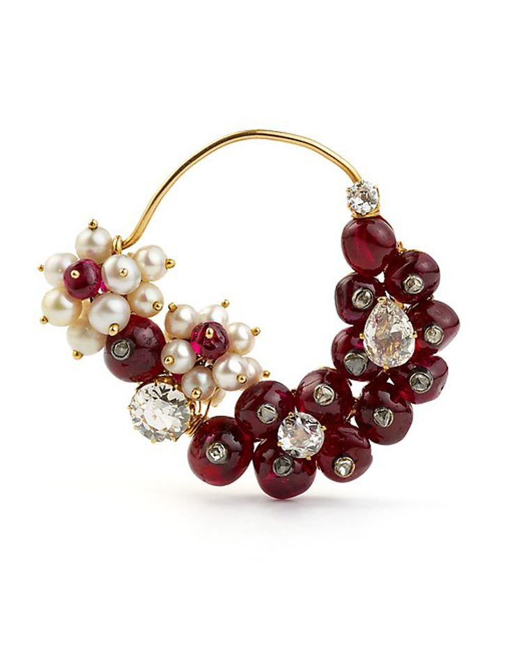 Western India | 'Nath' ~ nose ring; gold, with diamonds, seed pearls and rubies | ca. 1925 - 1950 | Al-Thani Collection