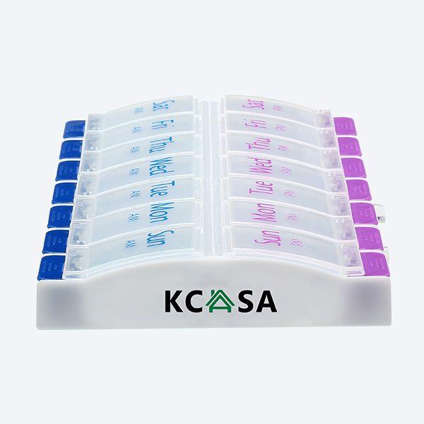 KCASA KC-JS1408 Scatola Contenitore Organizzatore Promemoria di Pillola Compressa Settimanalmente per Viaggio