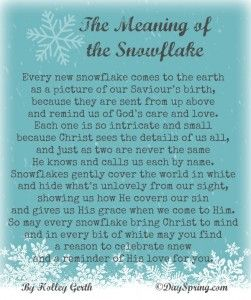 A Christian Christmas poem on the meaning of the snowflake by Holley Gerth.