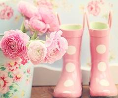 pink polka dot wellies