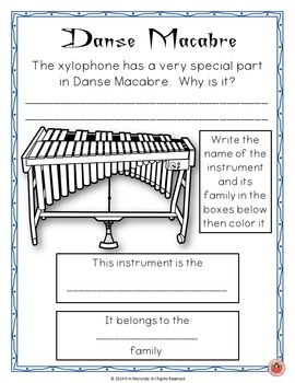 Halloween Music Listening! Danse Macabre Listening Worksheets/journal pages!   ♫ CLICK through to preview or save for later!    ♫ Grades 1-4