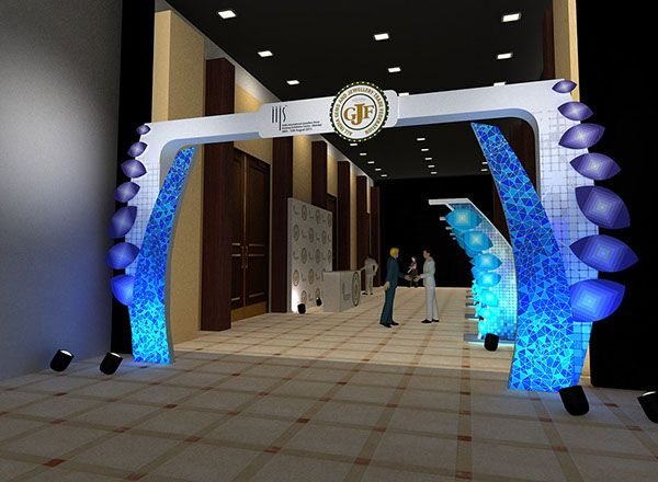 Exhibition Stall Zone : Iijs jewellery show event on behance entrance arch