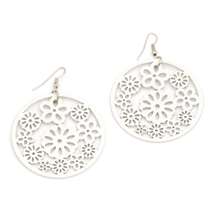White flower cut out design round wooden drop earrings