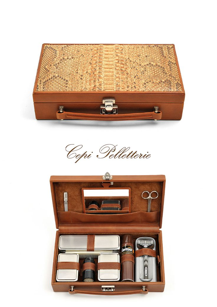 #Man necessaire made with brown #python #leather: everything you need in a classic and stylish box, 100% #MadeInItaly. Ready for the adventure! #LeatherAdventure #CepiPelletterie #travel  Find more: http://goo.gl/32S4CK