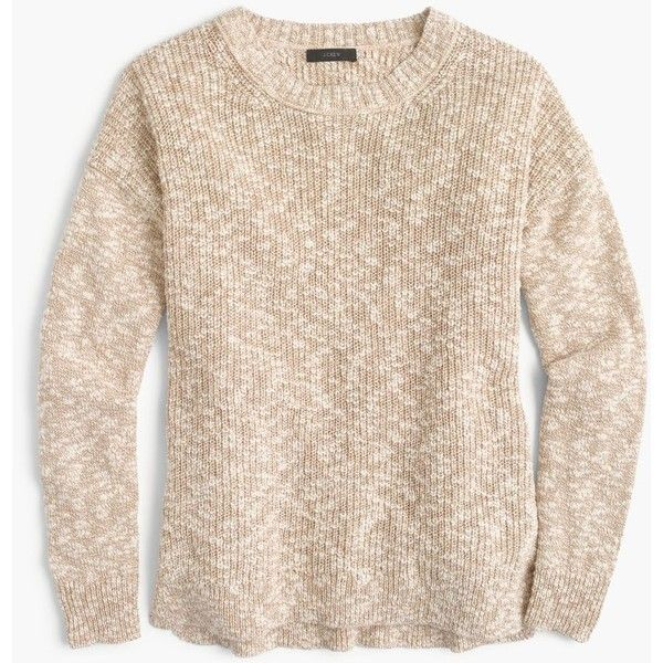 J.Crew Oversized marled sweater in cotton-linen ($90) ❤ liked on Polyvore featuring tops, sweaters, relaxed fit tops, beige sweater, lightweight sweaters, double layer top and j crew sweaters