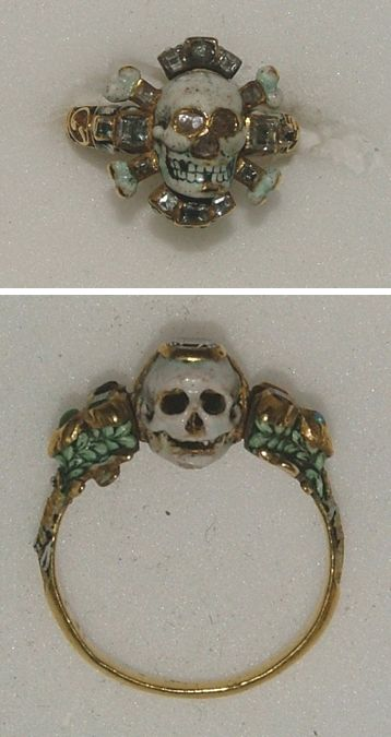 Two Memento Mori gold rings from the 17th century - Mortality rates were high in the 16th and 17th century due to war, plague and famine and Memento Mori rings such as these examples were intended to remind the wearer of their mortal state. - Presented by Dr C.D.E. Fortnum in honour of Queen Victoria's Diamond Jubilee, 1897;WA1899.CDEF.F476 and WA1899.CDEF.F520 http://www.ashmolean.org/ash/objects/?mu=153