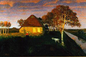 Otto Modersohn-Moorkate im Abendsonnenschein