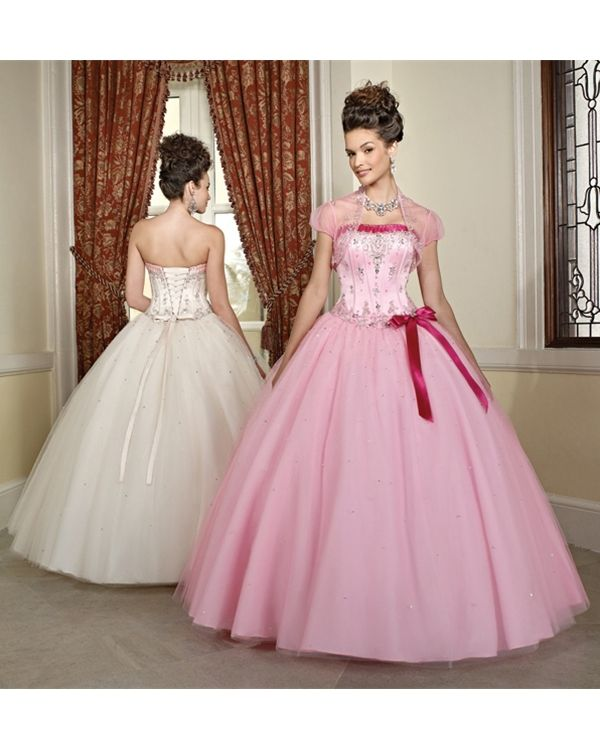 Unique Cheap Pink Ball Gown Strapless Bandage Floor Length Quinceanera Dresses With Beading and Bow online sale