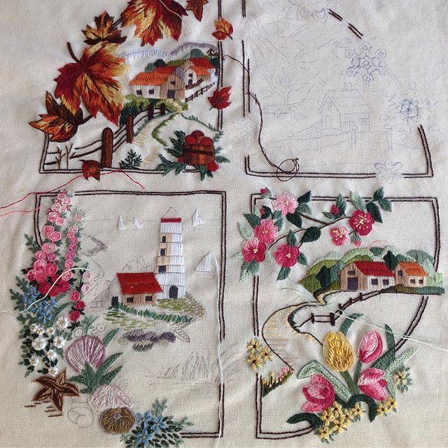 Nerde kalmıştık?...Sıcakları gönderdiğimize göre işlerimize kaldığımız yerden devam edelim...#dörtmevsim #nakış #embroidery #elişi #elnakışı #handmade #needlework #dekoratifnakış #pano #ilkbahar #yaz #sonbahar #kış#