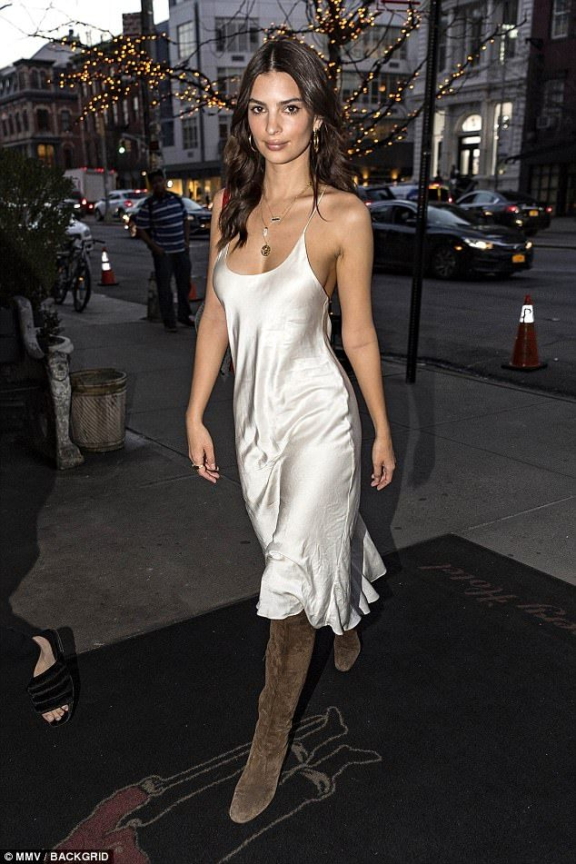 176fac28e5 Emily Ratajkowski wears delicate white slip dress in NYC