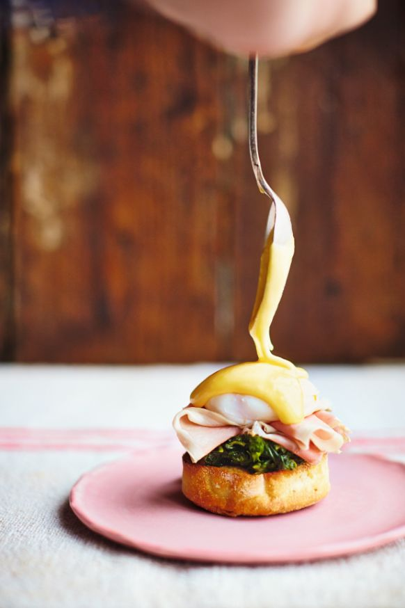 Super Eggs Benedict from Jamie Oliver's Comfort Food. Feel free to swap out the ham for beautiful smoked salmon, or even a slow-roasted portobello mushroom, if you prefer. http://thehappyfoodie.co.uk/recipes/super-eggs-benedict