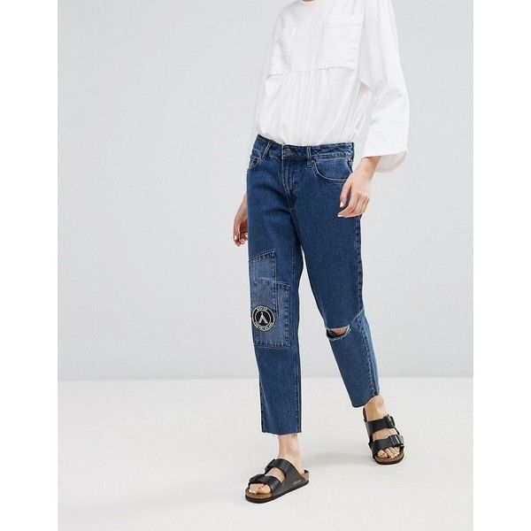 Waven Akire True Boyfriend Ripped Jeans (785 ARS) ❤ liked on Polyvore featuring jeans, navy, distressed boyfriend jeans, tall skinny jeans, relaxed fit boyfriend jeans, cropped skinny jeans and destroyed skinny jeans