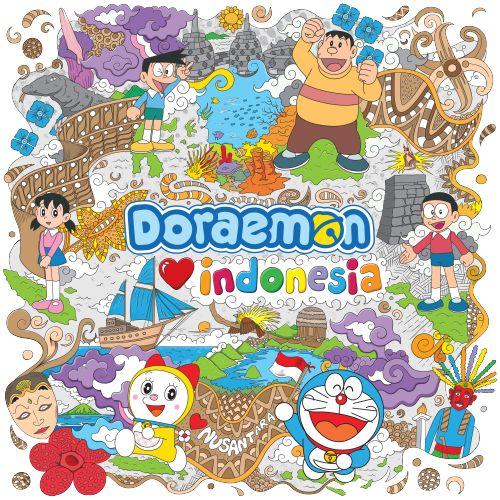 Desain ini menggambarkan Doraemon, Nobita, dan teman-temannya yang berkunjung ke Indonesia dan mereka sangat senang sekali, karena Indonesia ternyata sangat kaya akan keindahan alam dan keanekaragaman budaya. #Kaos #Desain #Baju #Design #TShirt #Doraemon #Rupawa
