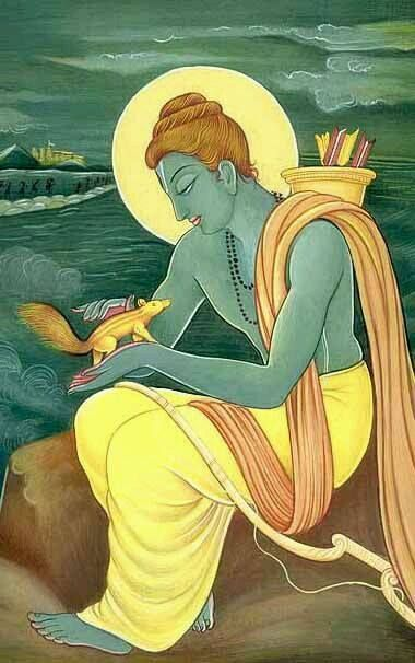 rama: thats how the squirrel got its stripes. when ram saw the squirrel trying to pick stones to help his army build a bridge, he picked it up and caressed its back.