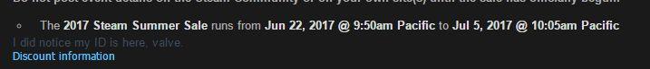 Steam Summer Sale 2017 Dates