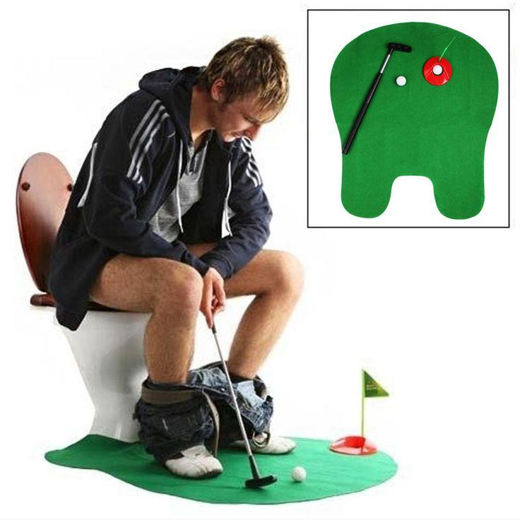1 Conjunto de Banheiro Engraçado Wc Tempo Mini Jogo de Golfe Putter Mat Presente Da Novidade Da Mordaça Brinquedo dos Homens Novos
