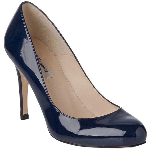 L.K. Bennett Stila Patent Leather Court Shoes (2 055 SEK) ❤ liked on Polyvore featuring shoes, pumps, heels, navy, patent leather pumps, l.k. bennett pumps, high heel pumps, low heel pumps and round toe pumps