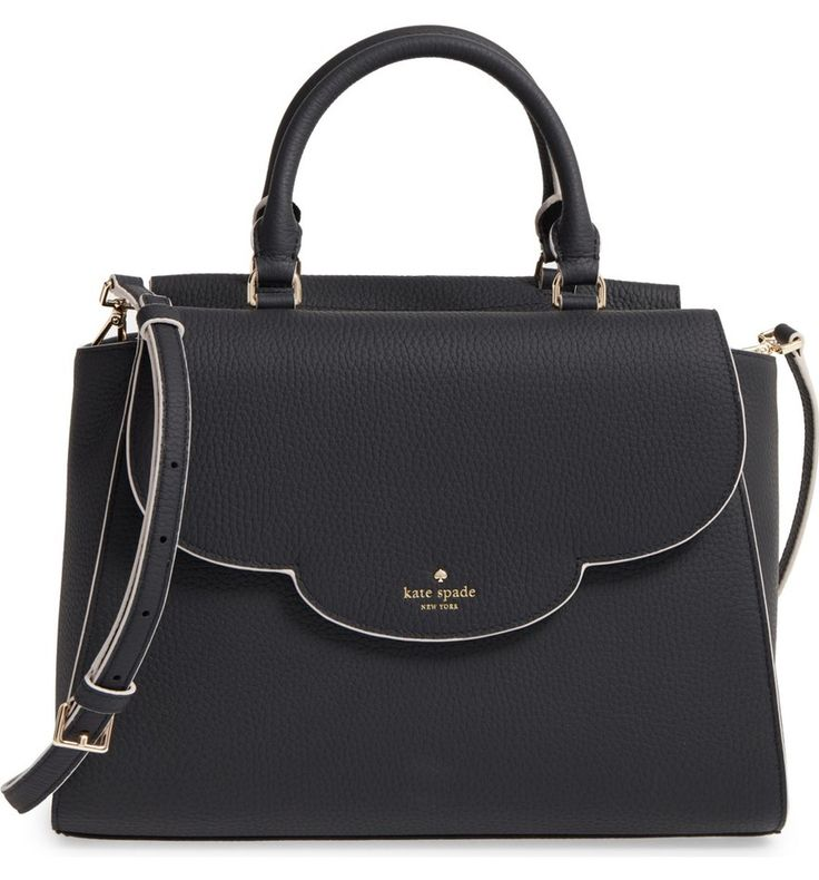 A color-pop edge highlights the pretty scalloped flap of a spacious pebbled-leather satchel, adding the perfect finish to the style's structured silhouette.